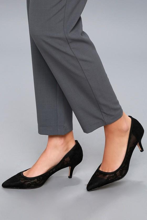 Sexy Black Heels - Lace Heels - Lace Kitten Heels