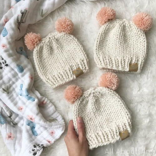 Comfy and warm knitted baby hats