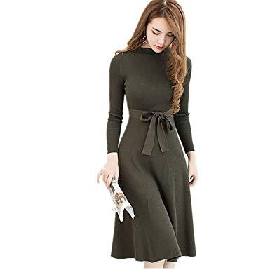 2018 Knitted Dress Women Slim Autumn Winter Long Sleeve High Waist