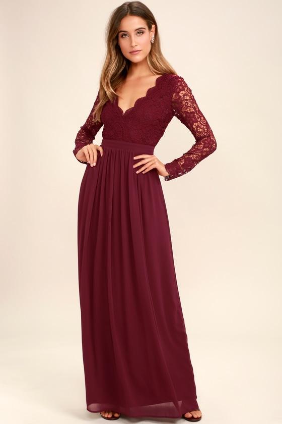 Lovely Burgundy Dress - Lace Maxi Dress - Long Sleeve Dress