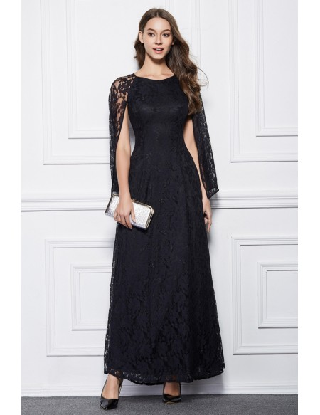 Elegant A-Line Black Lace Long Formal Dress With Cape Sleeves