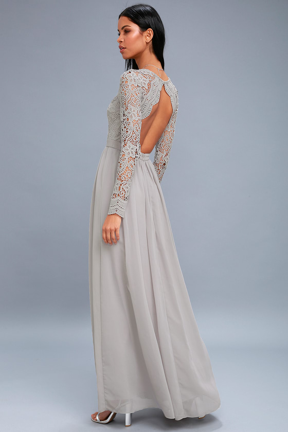 Lovely Light Grey Dress - Lace Long Sleeve Maxi Dress