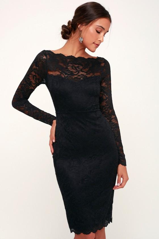Cute Black Lace Dress - Lace Bodycon Dress - Long Sleeve Dress