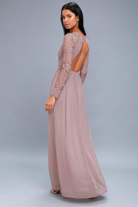 Lovely Dusty Lavender Dress - Lace Long Sleeve Maxi Dress