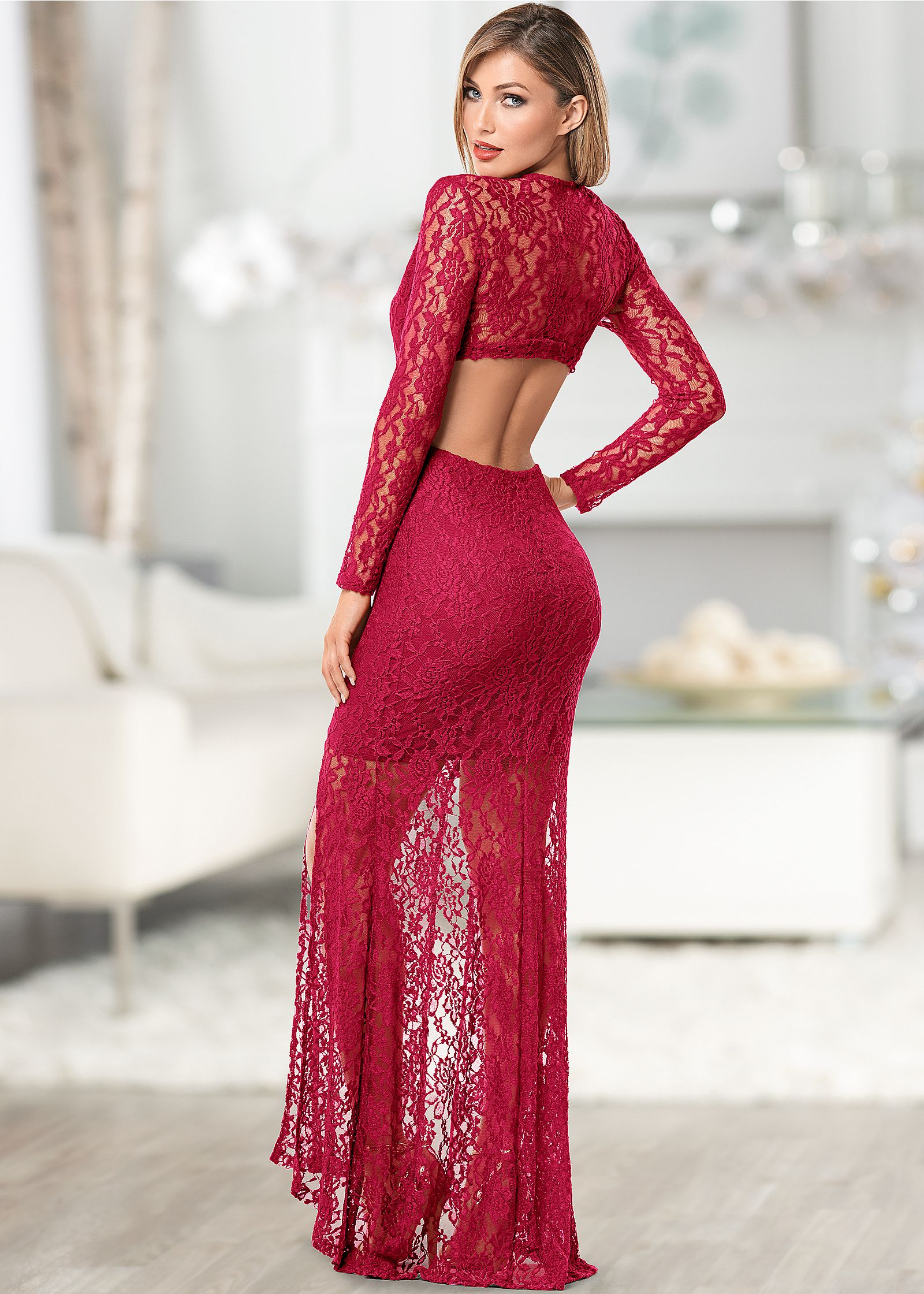 CUT OUT LACE LONG DRESS in Red | VENUS