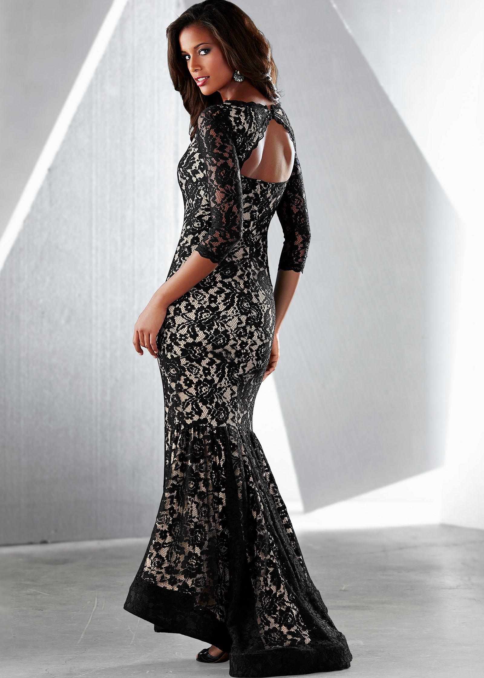 LONG LACE DRESS in Black Multi | VENUS