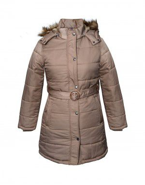 Shop Ladies Jacket belted Beige at Woollen Wear