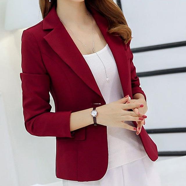 Women Autumn Blazer Long Sleeve Single Button Ladies Jacket Office