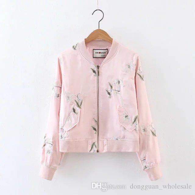 Bomber Jacket Women Long Sleeve Embroidery Ladies Jacket 2018