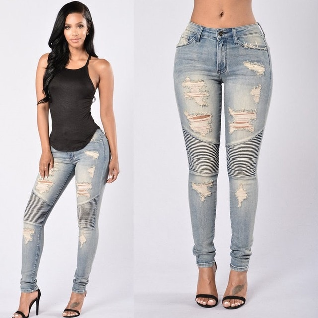 Ladies Stretch Ripped Sexy Skinny Jeans Womens High Waisted Slim Fit