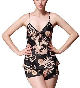 Dolamen Women's Nighties Pyjamas Set Satin, Ladies Pyjamas Nightwear
