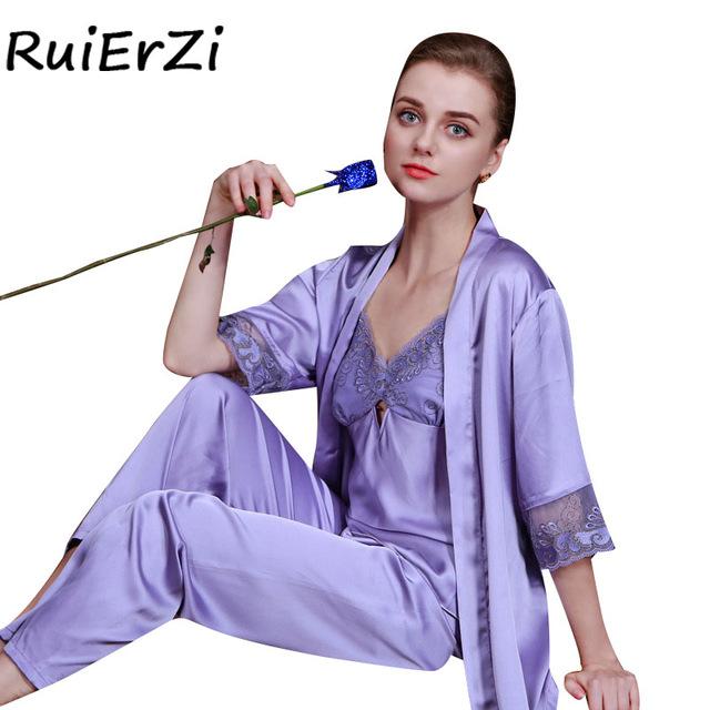 Autumn Women Satin Sleepwear Female Silk Pajama Sets Ladies Pyjamas