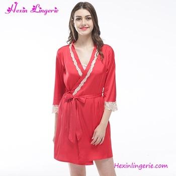 Sexy Red Satin Nighty Dress Ladies Pyjamas And Sleepwear - Buy