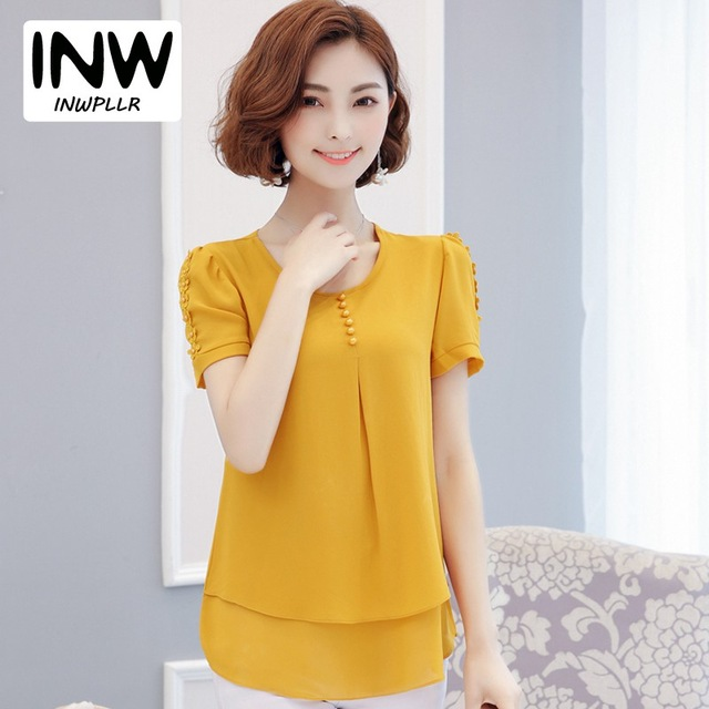 2018 Womens Tops And Blouses Summer Short Sleeve Ladies Shirts Large