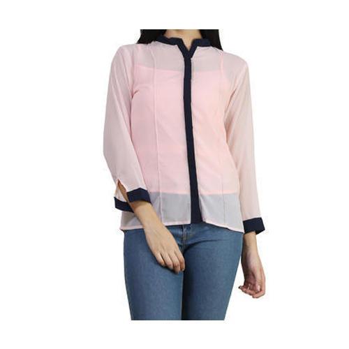 Light Peach, Navy Blue Plain Georgette Ladies Shirt, Rs 299 /piece