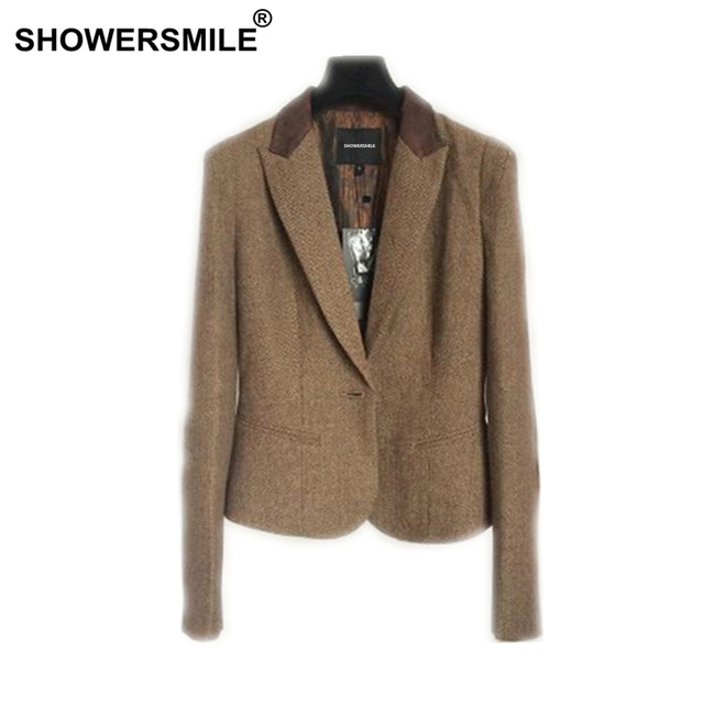 SHOWERSMILE Ladies Blazers British Style Womens Tweed Jacket
