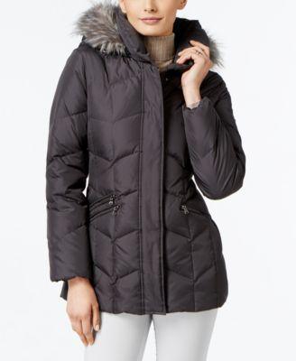 Larry Levine Faux-Fur-Trim Pillow-Collar Puffer Coat - Coats - Women