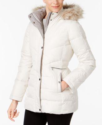 Larry Levine Faux-Fur-Trim Hooded Puffer Coat - Coats - Women - Macy's