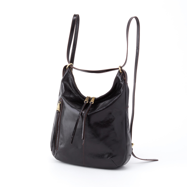 Merrin Black Leather Backpack & Shoulder Bag For Women - Hobo Bags