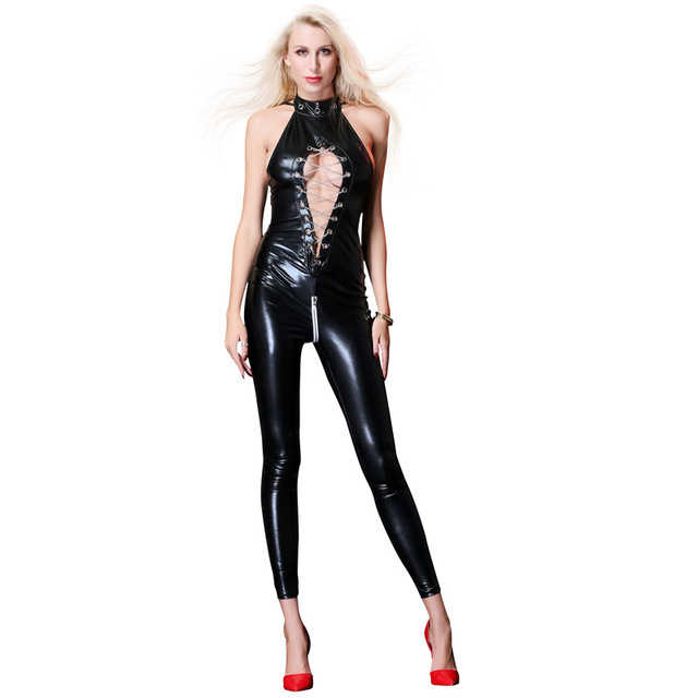 Sexy Wetlook Faux Leather Jumpsuit Chain Lace Up Bodysuit Overall
