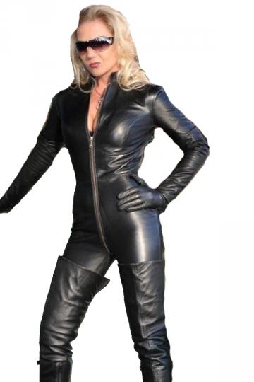 Black Sexy Zipper Faux Leather Moto Catsuit For Women