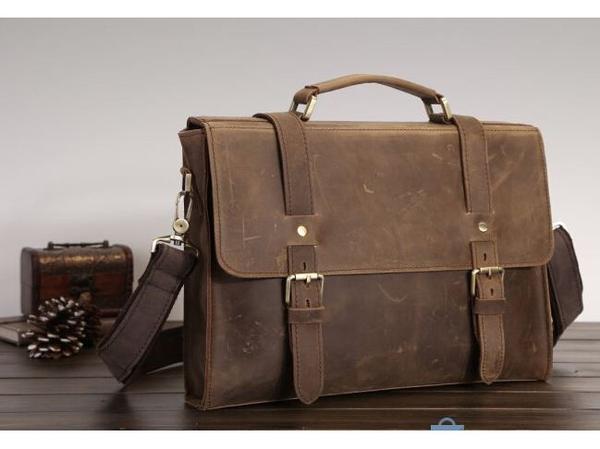 Premium Crazy Horse Leather Vintage Laptop Bag in Unisex Dark Brown