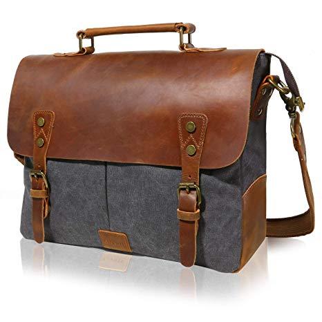Amazon.com: Lifewit Leather Vintage Canvas Laptop Bag, 13
