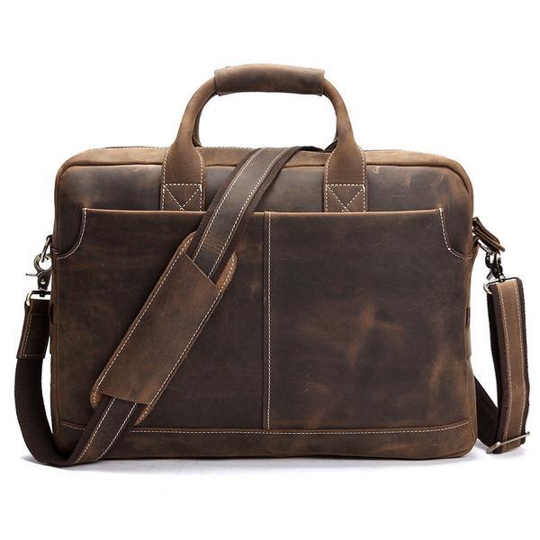 Distressed Leather Briefcase, Leather Laptop Bag u2013 ROCKCOWLEATHERSTUDIO