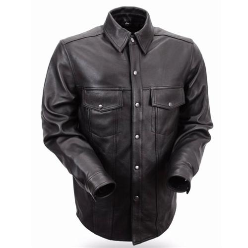 Men's Leather Shirts - Biker Riding Shirt Jacket - Free Shipping