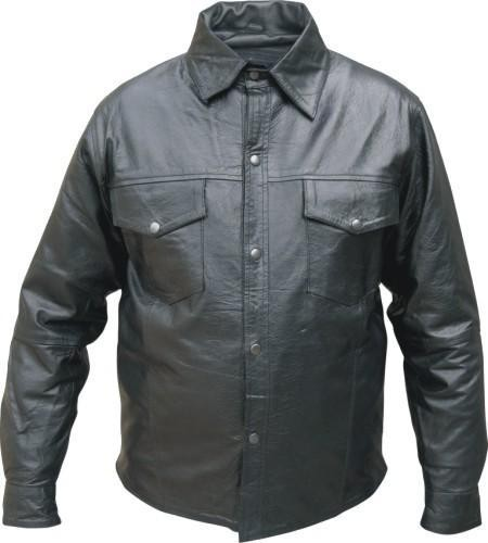Mens Western Style Long Sleeve Leather Shirt - Motorcycle Gear
