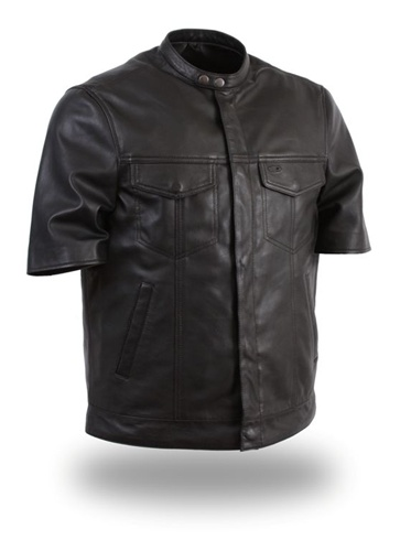 Mens Lightweight Short Sleeve Motorcycle Leather Shirts / Clearance