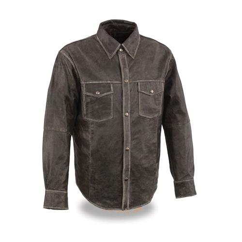 Distressed Gray Milwaukee Leather Shirts - Lightweight Riding Shirt