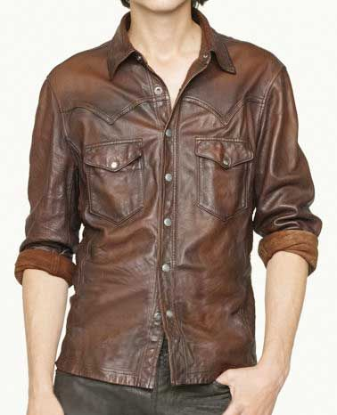 V Tab Leather Shirt Jacket 50 Colors in 2019 | men's shoes and