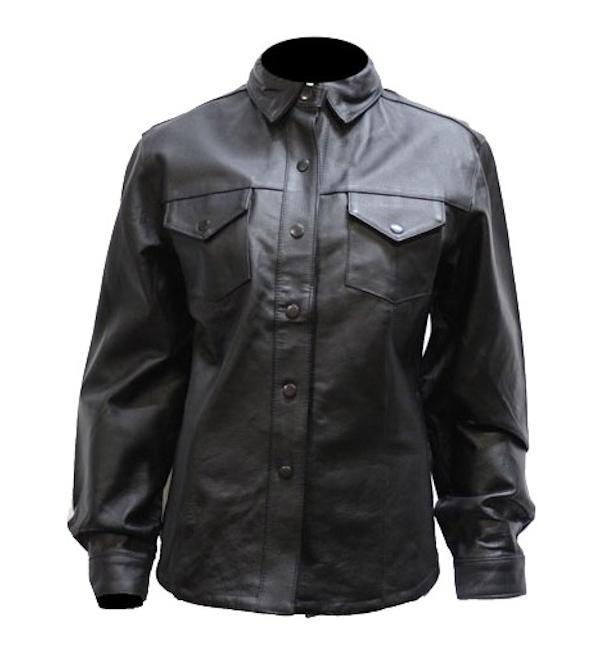 Ladies Button Snap Leather Shirt WLSJ24 u2013 Leather Supreme