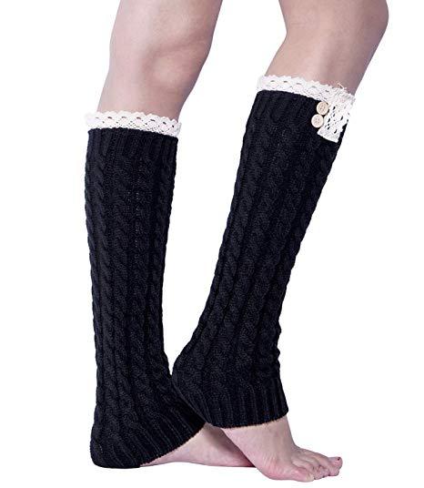 1 Pairs /2 Pairs Women Knit Leg Warmers Winter Long Boot Cuffs Socks