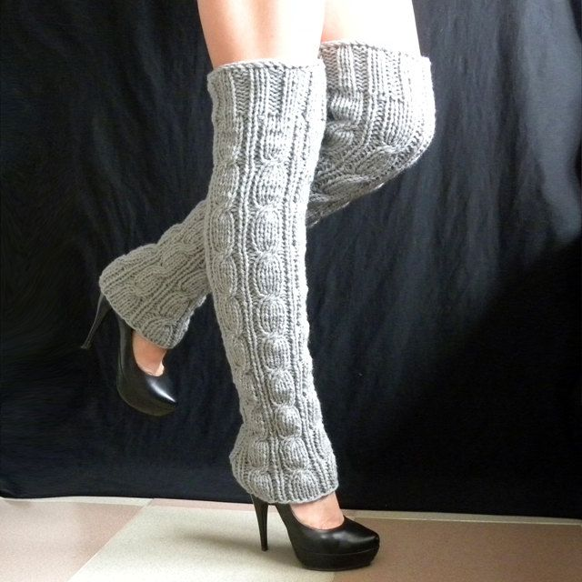 knitted leg warmers Winter Accessories very long. $51.00, via Etsy