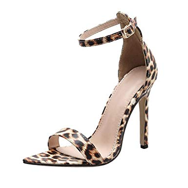 DENER❤ Women Ladies Girls Sandals with High Heels, Leopard Ankle