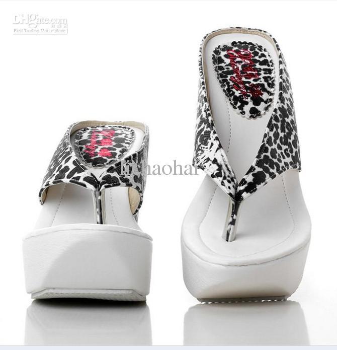 Girl Sandals Boots / Leopard Print High Heel Women Waterproof Wedge