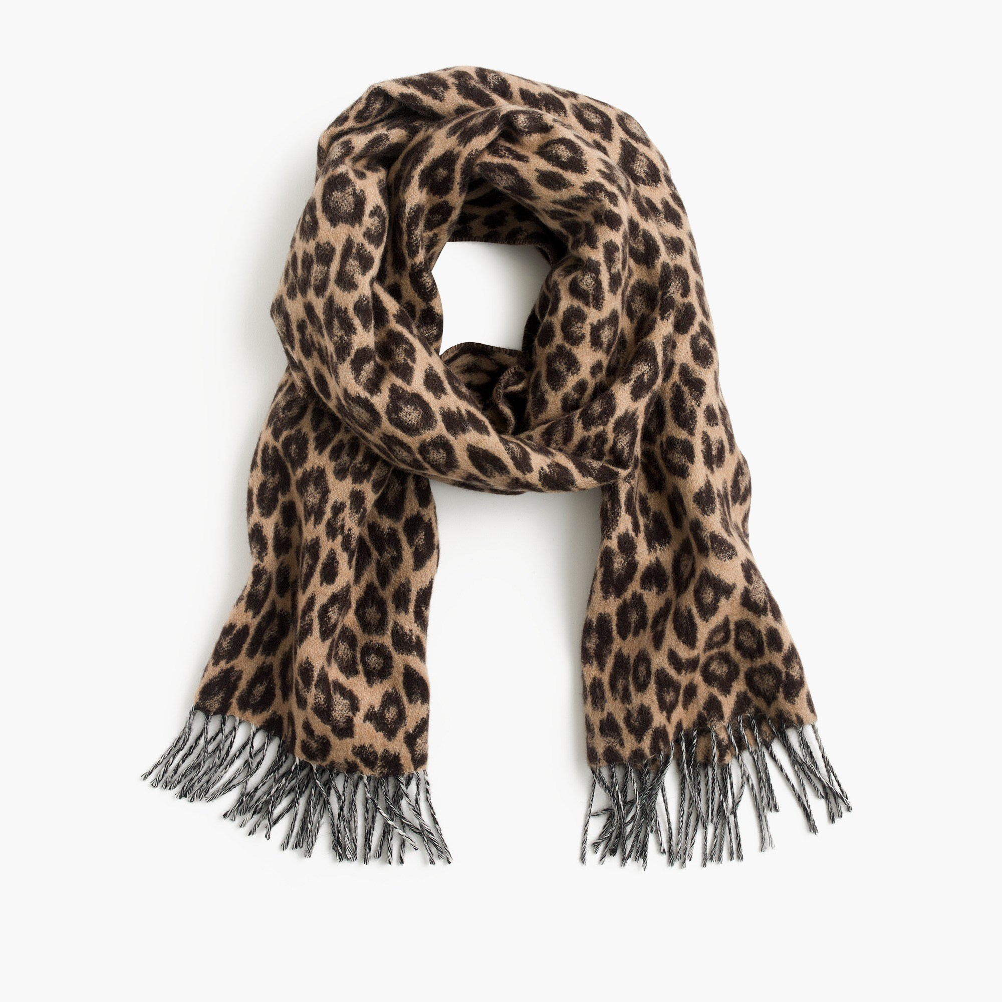 Women's Italian Wool-Blend Scarf In Leopard - Women's Accessories