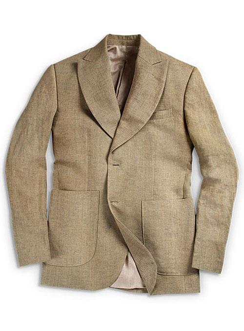 Italian Casa Dk Beige Linen Jacket - Elephant Lapel : StudioSuits