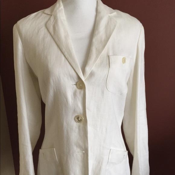 lauren ralph lauren Jackets & Coats   White Linen Blazer Jacket