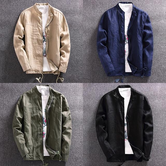 2017 New Fashion Breathable Ultra Thin Collarless Linen Jacket Men