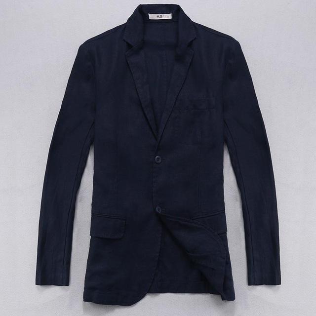 100% Linen jackets men long sleeved blazer men brand casual jacket