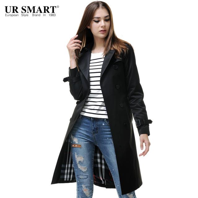 URSMARTHigh end brand new autumn and winter female long black coat