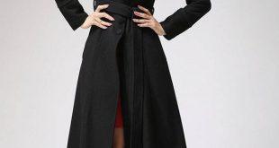 Black coat dress coat mandarin collar long coat womens | Etsy