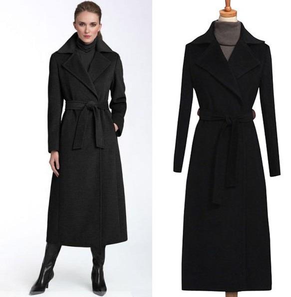 2017 New fashion black wool coat women's long wool trench coat plus