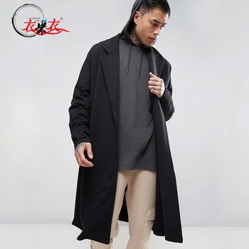 Black Long Wrap Wool Coat Drop Shoulder Trench Coat Men - Buy Trench
