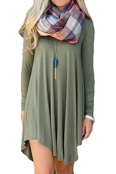 Women's Long Sleeve Casual Loose T-Shirt Dress Mini Tunics For