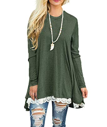 Women's Lace Long Sleeve Scoop Neck Tunic Tops Blouse Shirts for