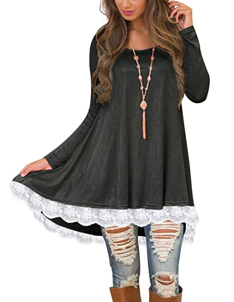 Sanifer Women's Lace Long Sleeve Tunic Tops with Pockets Long Tunic